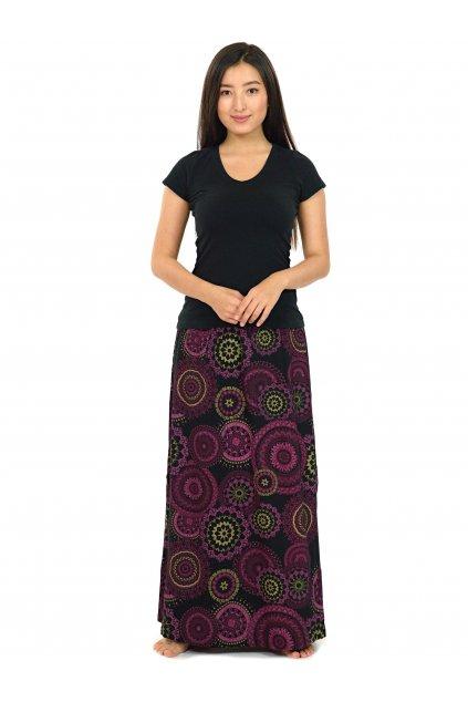 Dlouhá sukně Kilauea- černá s růžovou