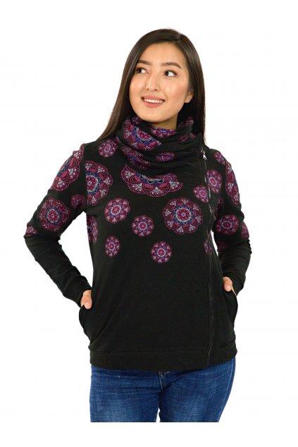 Mikina na zip s maxi límcem Vainui - černá s růžovou