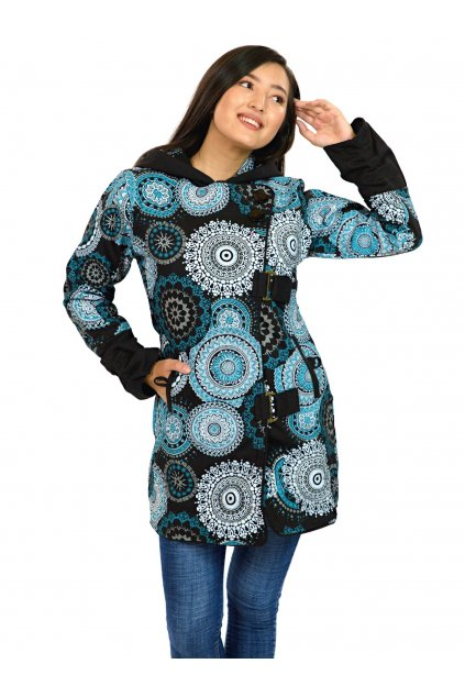Podzimní/zimní kabát Kona - černý s tyrkysovou