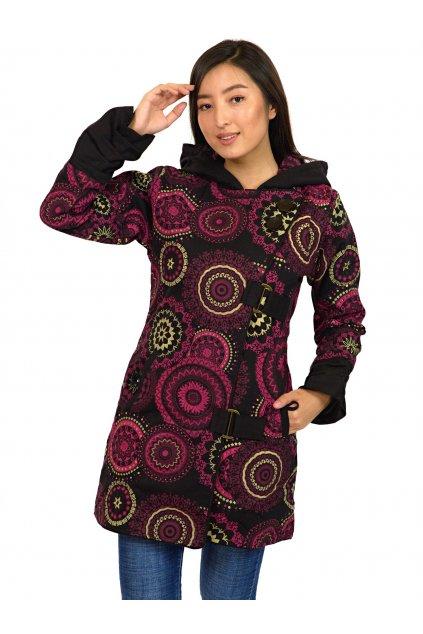 Podzimní/zimní kabát Kona - černý s růžovou