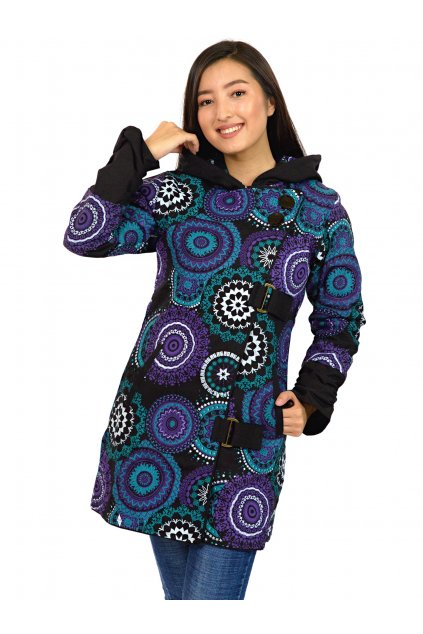 Podzimní/zimní kabát Kona - tyrkysová s fialovou