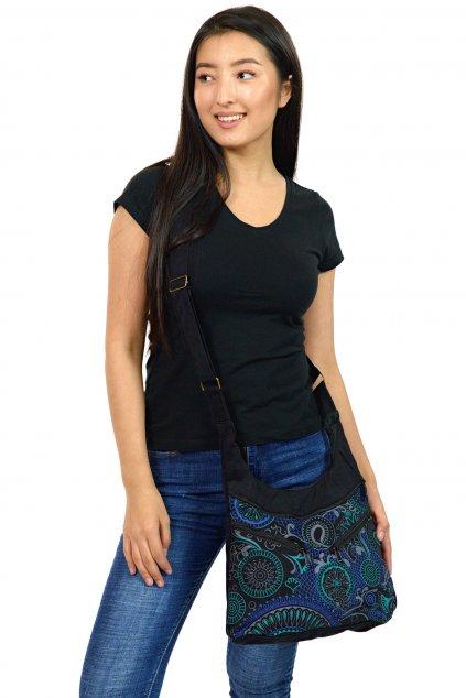 Crossbody kabelka Makua - černá s tyrkysovou