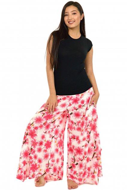 Široké kalhoty Sakura - bílé