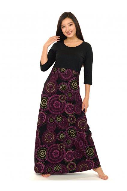 Dlouhé šaty Kaili s 3/4 rukávem - černá s růžovou
