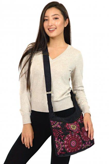 Crossbody kabelka Makua - černá s růžovou