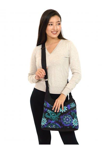 Crossbody kabelka Makua - tyrkysová s fialovou