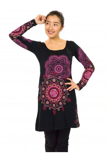 Tunika / šaty Noelani - černá s růžovou