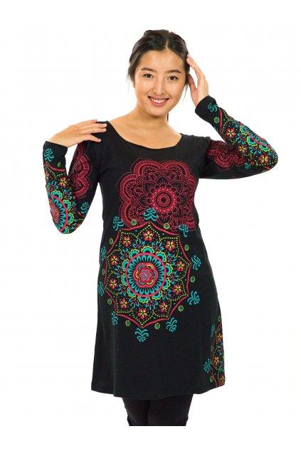 Tunika / šaty Noelani - černá s barvami
