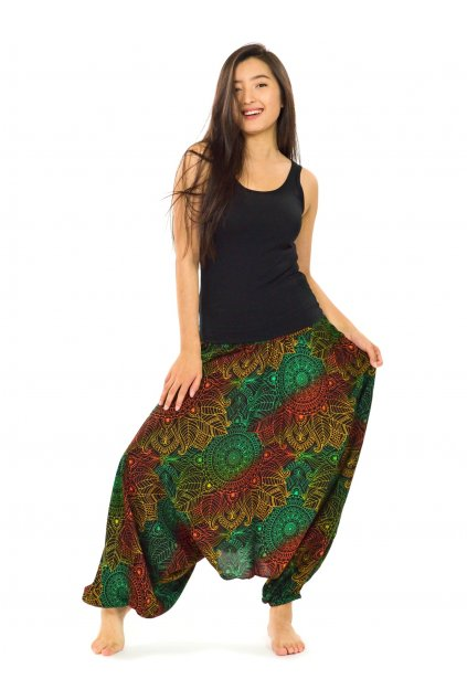 Kalhoty-šaty-top 3v1 Kailani - zelené se žlutou