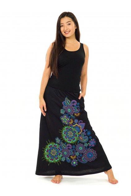 Dlouhá sukně Maima - černá s barvami