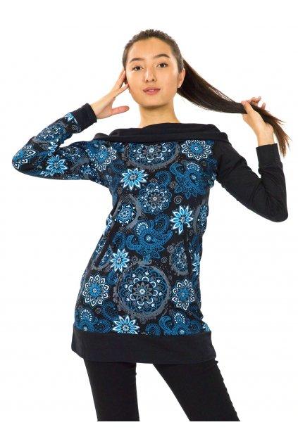 Mikinová tunika s maxi kapucí Paua - černá s modrou