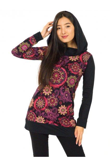 Mikinová tunika s maxi kapucí Paua - černá s růžovou