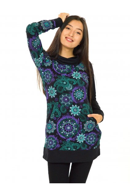 Mikinová tunika s maxi kapucí Paua - tyrkysová s fialovou