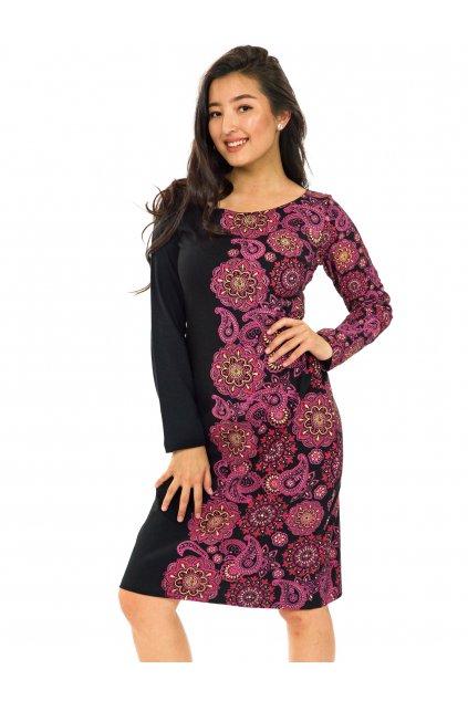 Šaty Matira - černá s růžovou