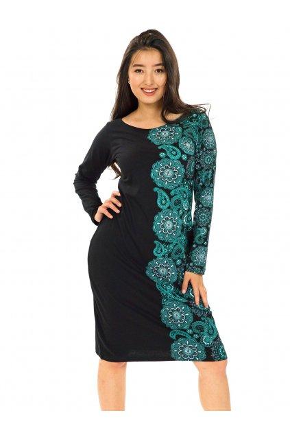 Šaty Matira - černá s tyrkysovou