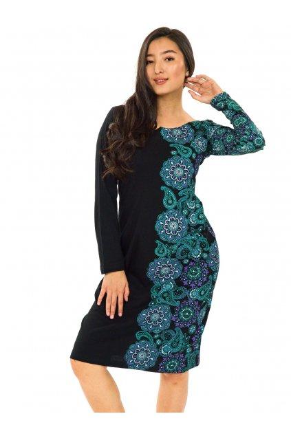 Šaty Matira - tyrkysová s fialovou