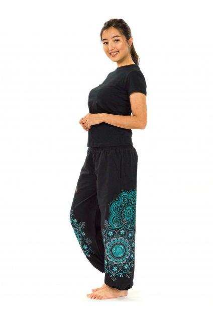 Kalhoty Makaha - černá s tyrkysovou
