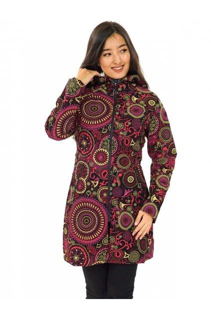 Podzimní/zimní kabát Hiva - černá s růžovou