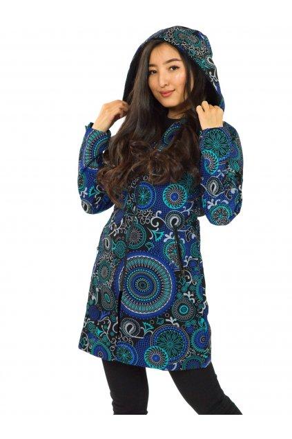 Podzimní/zimní kabát Hiva - černá s tyrkysovou