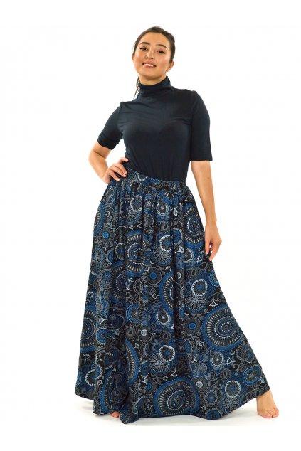 Maxi sukně Anuta s kapsami - černá s modrou