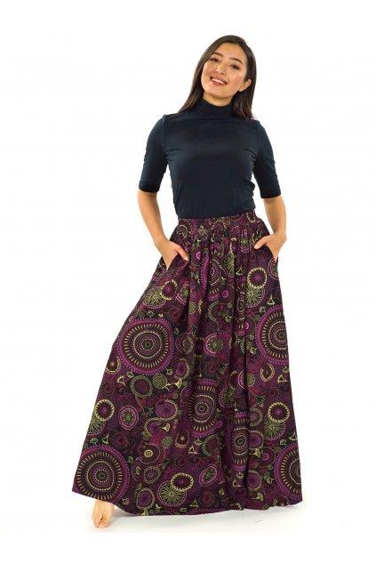 Maxi sukně Anuta s kapsami - černá s růžovou
