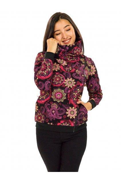Hřejivá mikina na zip s maxi límcem Tonga - černá s růžovou