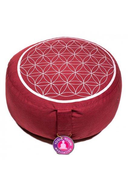 Meditační polštář květ života - červený