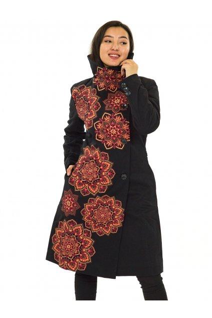 Podzimní/zimní kabát Himalaya - černá s oranžovou