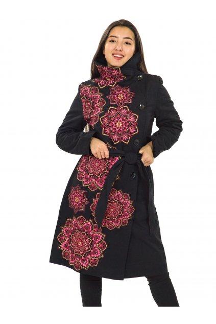 Podzimní/zimní kabát Himalaya - černá s růžovou