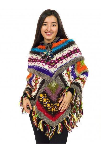 Pletené vlněné pončo Lalita 5