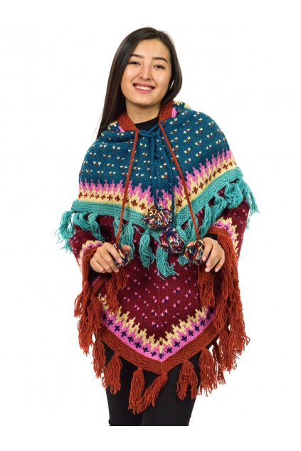Pletené vlněné pončo Lalita 4