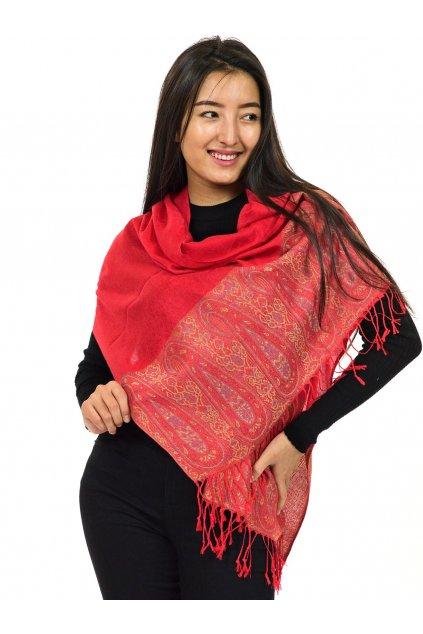 Šátek pašmína Nepal - červená