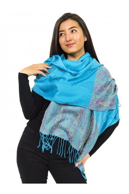 Šátek pašmína Nepal - tyrkysová