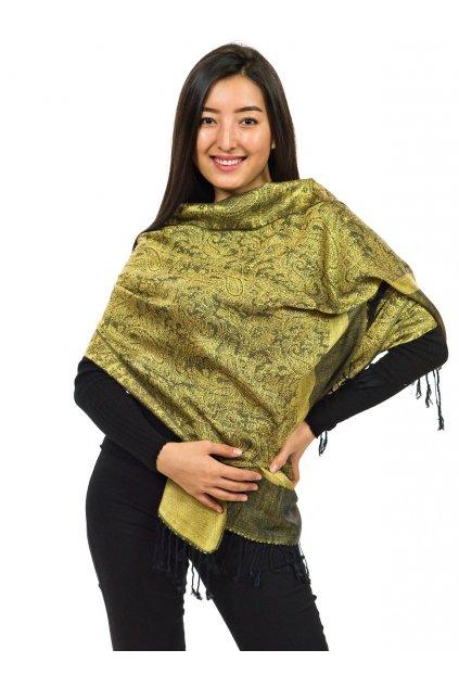 Šátek pašmína Nepal - černá se zlatou