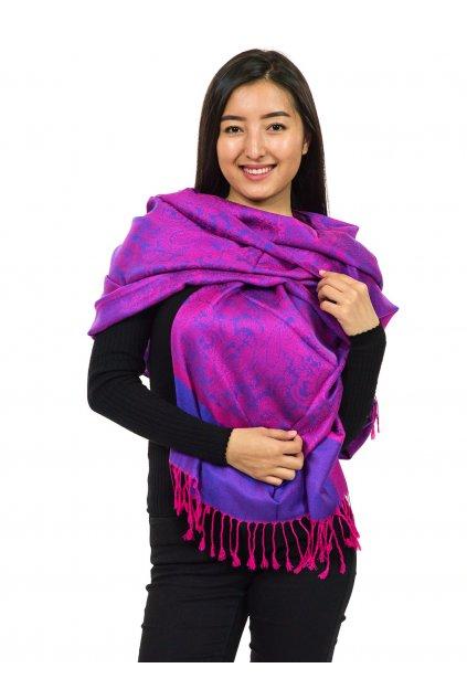 Šátek pašmína Nepal - růžová s tyrkysovou