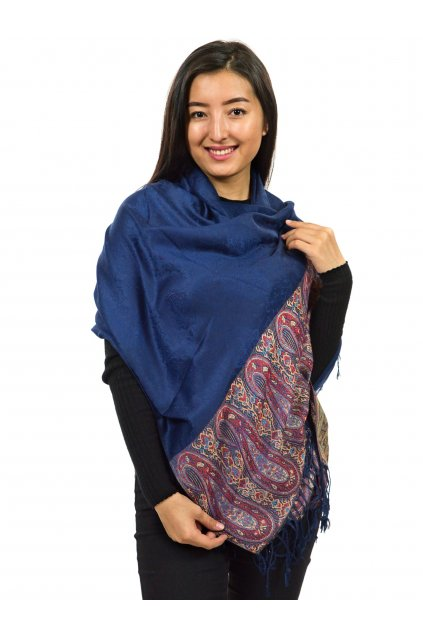Šátek pašmína Nepal - tmavě modrá