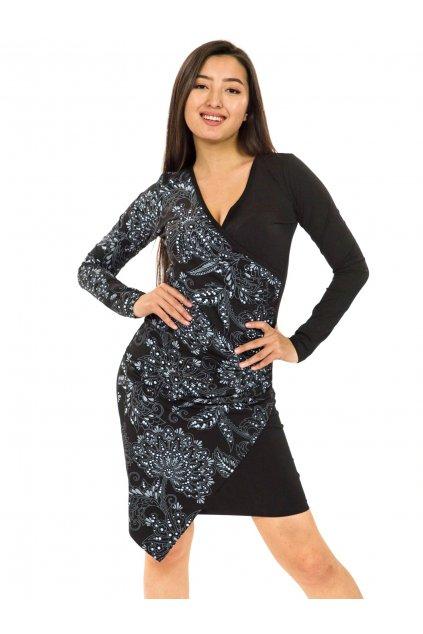 Zavinovací šaty Vanita - černá s bílou