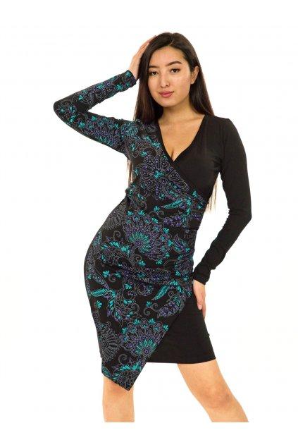 Zavinovací šaty Vanita - černá s tyrkysovou a fialovou