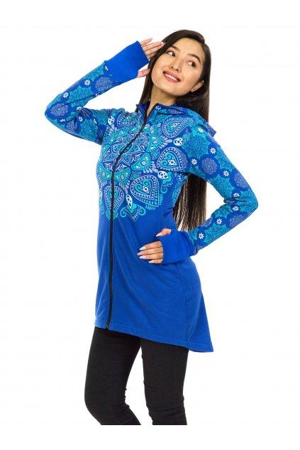 Prodloužená mikina na zip s kapucí Kiana - modrá s tyrkysovou