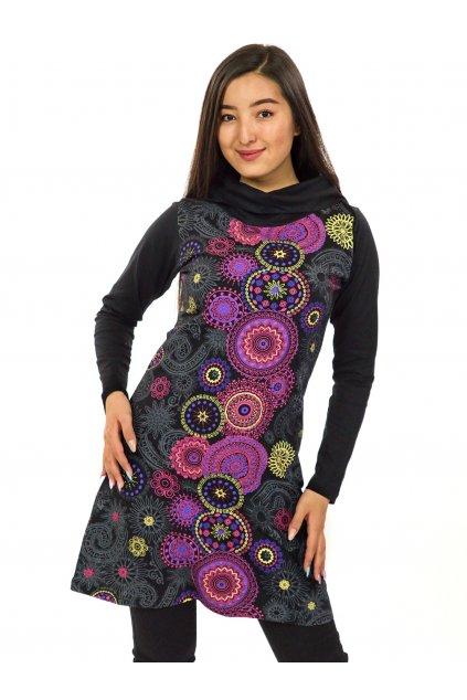 Tunika / šaty s límcem Sarita - černá s růžovou a fialovou
