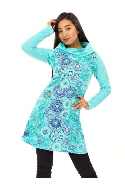 Tunika / šaty s límcem Sarita - tyrkysová s modrou