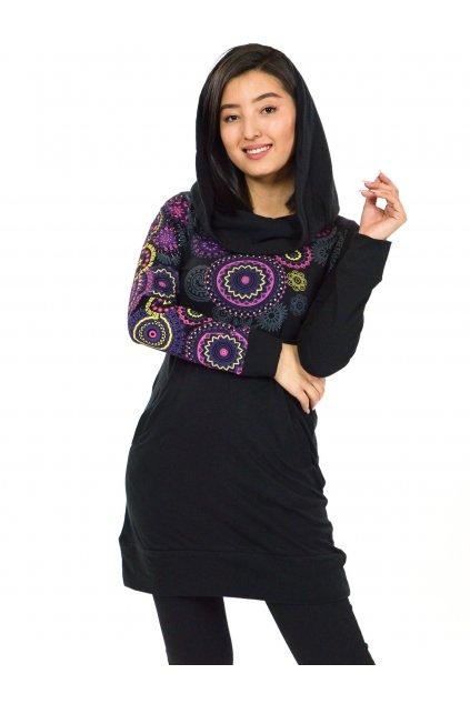 Mikinová tunika s maxi kapucí Elisha - černá s růžovou a fialovou