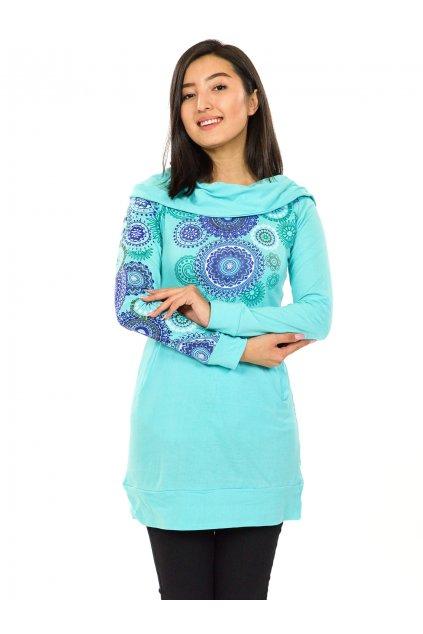 Mikinová tunika s maxi kapucí Elisha - tyrkysová s fialovou