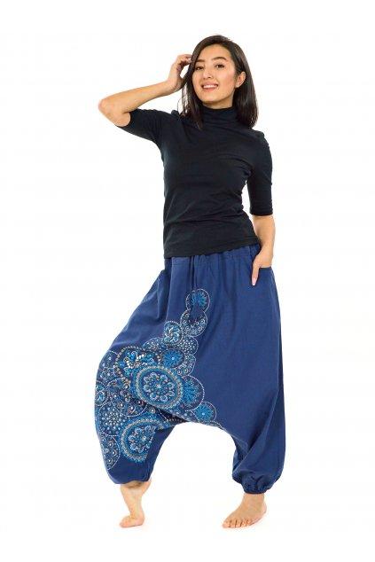 Harémové kalhoty Saura -modrá s tyrkysovou