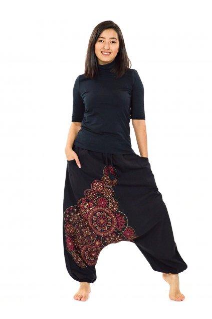 Harémové kalhoty Saura - černá s červenou