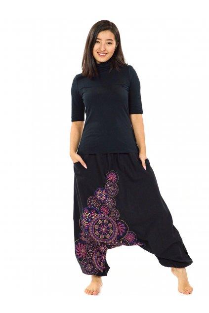 Harémové kalhoty Saura - černá s růžovou