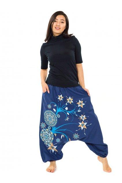 Harémové kalhoty Nalanie - modrá s tyrkysovou a žlutou
