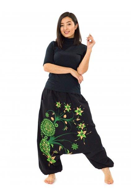 Harémové kalhoty Nalanie - černá se zelenou