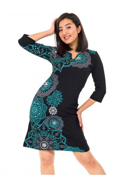 Šaty s 3/4 rukávem Ailana - černá s tyrkysovou