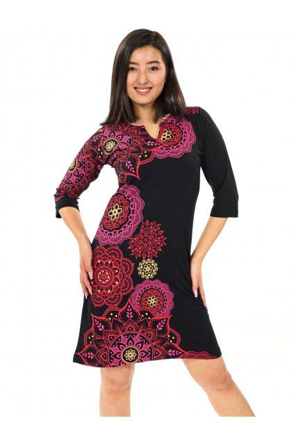 Šaty s 3/4 rukávem Ailana - černá s růžovou a červenou